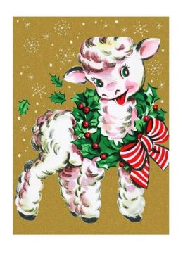 Lamb Wearing Beribboned Wreath Christmas Cards [With Envelope]