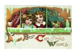 Two Girls and Cat at Snowy Window - Christmas Card (6 Cards Individually Bagged W/ Envelopes and Header)