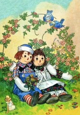Raggedy Ann and Andy Hugging (6 Cards Individually Bagged W/ Envelopes and Header)