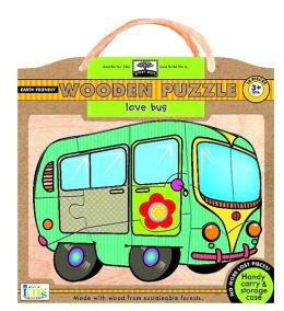 Green Start Wooden Puzzles - Love Bus: Earth Friend Puzzles with Handy Carry & Storage Case