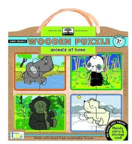 Green Start Wooden Puzzles - Animals at Home: Earth Friend Puzzles with Handy Carry & Storage Case