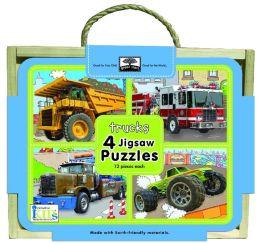 Green Start Jigsaw Puzzle Box Sets: Trucks (4 - 12 Piece Puzzles)