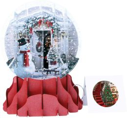 Holiday Door Pop-Up Snow Globe Christmas Boxed Card