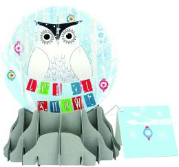 SNOWY OWL POP-UP SNOW GLOBE CHRISTMAS BOXED CARD