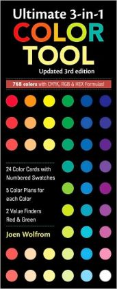 Ultimate 3-in-1 Color Tool, 3rd Edition: -- 24 Color Cards with Numbered Swatches -- 5 Color Plans for each Color -- 2 Value Finders Red & Green
