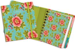 Pink Flowers & Cyan Green Spiral Address Book 5.5'' x 6''