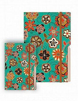 Multi-Colored Flowers on Teal Edgewise Small Journal