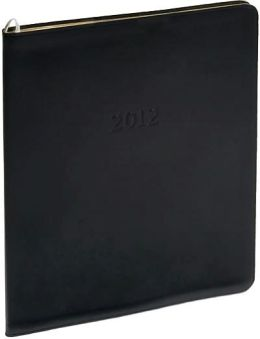 2012 Monthly Large Black Acadia Leather Planner Calendar