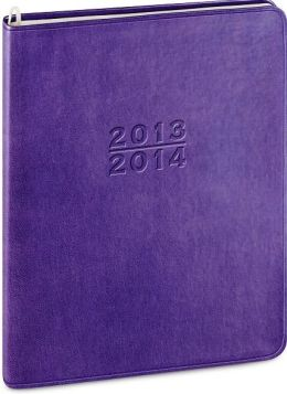 2014 18-Month Monthly Desk Large Purple Metal Kid Planner Calendar