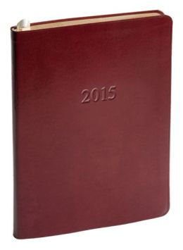 2015 Weekly Desk Red Acadia Leather Planner