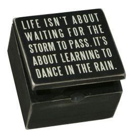 Dance in the Rain Black Wood Hinged Box Sign (4x4)