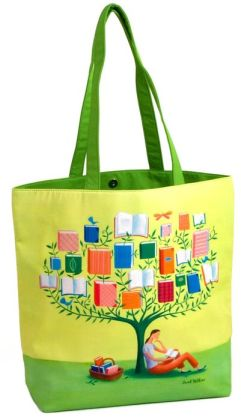 Book Tree Sarah Wilkins Green Microfiber Tote Bag