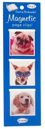Pug Puppy Large Magnetic Page Clips Set of 3