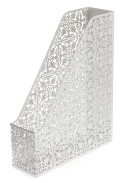 White Decorative Metal Magazine Rack (13'x10