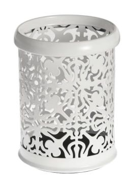 White Decorative Metal Pencil Cup (4.5
