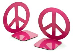 Jonathan Adler Love Dove Peace Sign Fuchsia Metal Bookend set of 2