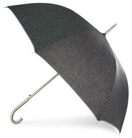 Black Quotes Stick Umbrella with Metal Handle
