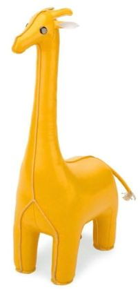 Yellow Leather Look Giraffe Bookend- 1 Piece (14')