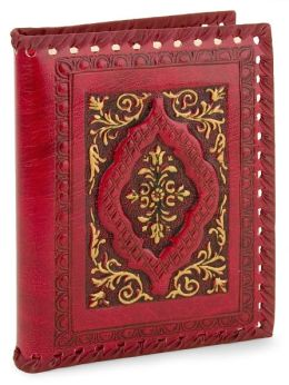 Red Gold Whipstitched Embossed Italian Leather Lined Journal 5 X 7