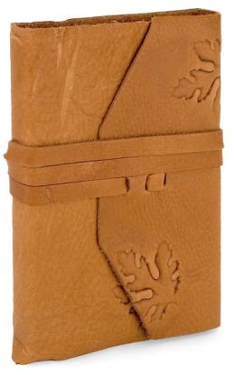 Cognac Embossed Leaf Soft Italian Leather Lined Wrap Journal (5