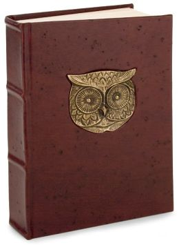 Metal Owl Head Brown Italian Leather Thick Lined Journal (6