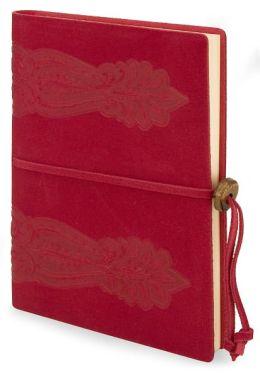 Red Sforza Italian Suede Journal with Brass Tie Closure (6