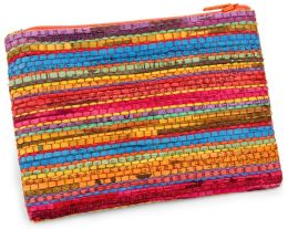 Multi Color Stripe Recycled Newspaper Coin Pouch (5