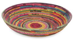 Recycled Newspaper Twine Multi-Color Handcrafted Woven Bowl (11.5x2.75)
