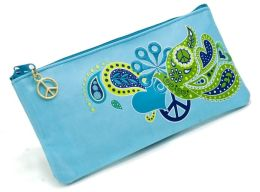 Jonathan Adler Blue Love Dove Embroidered Pencil Pouch (4x9)