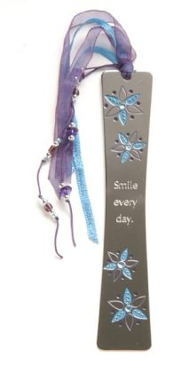 Flora Sparkle Blue Flowers Metal Bookmark