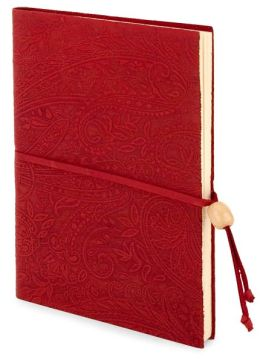 Paisley Embossed Red Leather Lined Journal with Bead 6x8