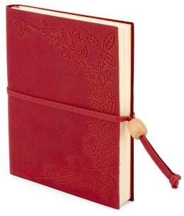 Floral Embossed Red Leather Lined Journal with Bead 5