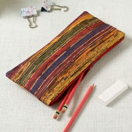 Rustic Stripe Recycled Newsprint Pencil Pouch (9.75''x4.5'')