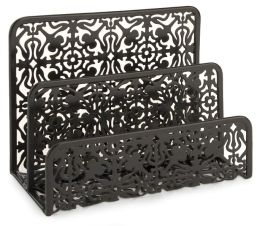 Black Decorative Metal Two Tier Letter Holder 6.75 x 5.25 x 3