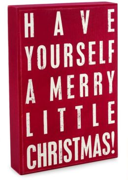 Merry Little Christmas Red Wood Box Sign 8