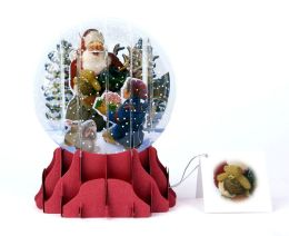 Santa And Helper Pop-Up Snow Globe Christmas Boxed Card