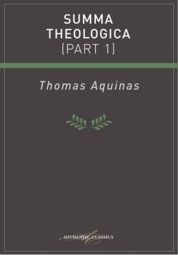 Summa Theologica (Part 1)