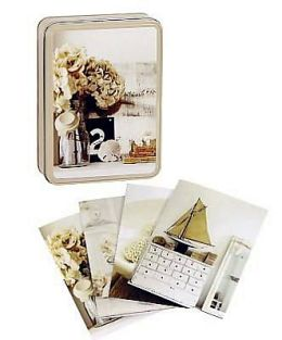 Pale and Interesting Notecards in Tin
