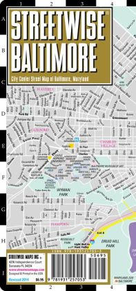 Streetwise Baltimore Map - Laminated City Center Street Map of Baltimore, Maryland - Folding Pocket Size Travel Map With Metro (2014)