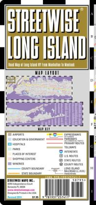 Streetwise Long Island Map - Laminated Regional Road Map of Long Island, New York - Folding Pocket Size Travel Map (2014)