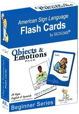 Sign2Me-ASL Flashcards: Beginners Series-Objects & Emotions (incl. ASL+English + Spanish)