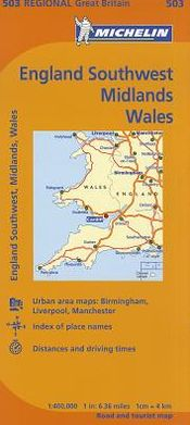 Michelin Map Great Britain: Wales, the Midlands, South West England 503