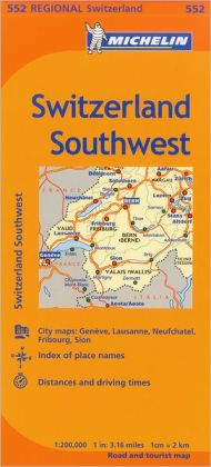 Michelin Switzerland: Southwest Map 552