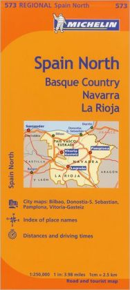 Michelin Spain: North, Basque Country, Navarra, la Rioja Map 573