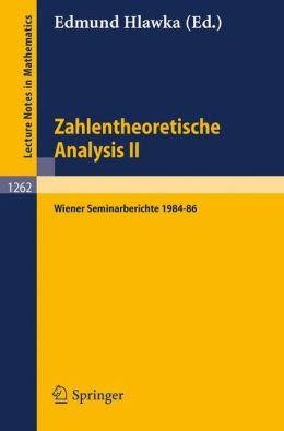 Zahlentheoretische Analysis II Edmund Hlawka