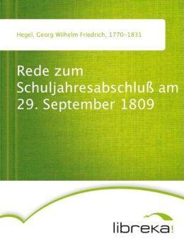 Rede zum Schuljahresabschlu am 29. September 1809