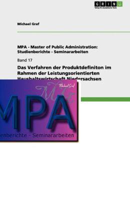 Das Verfahren Der Produktdefiniton Im Rahmen Der Leistungsorientierten Haushaltswirtschaft Niedersachsen