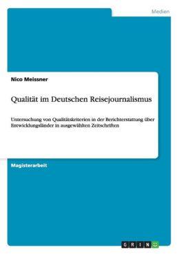 Qualitat Im Deutschen Reisejournalismus