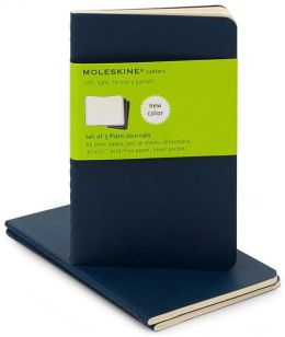 Moleskine Cahier Navy Blue Pocket Plain Journal, Set of 3