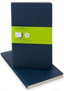 Moleskine Cahier Navy Blue Large Plain Journal, Set of 3
